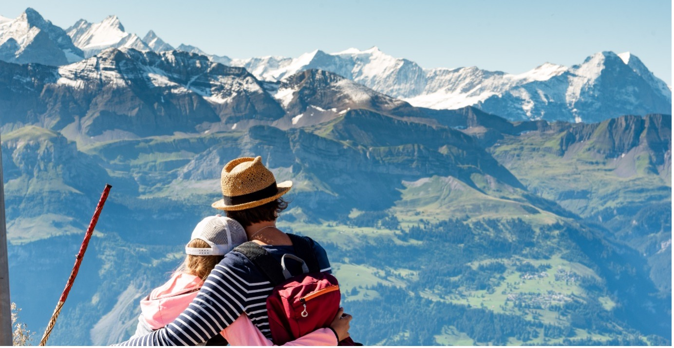 Couple sat in front of a mountain range